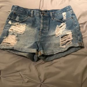 Distressed High Waisted Shorts